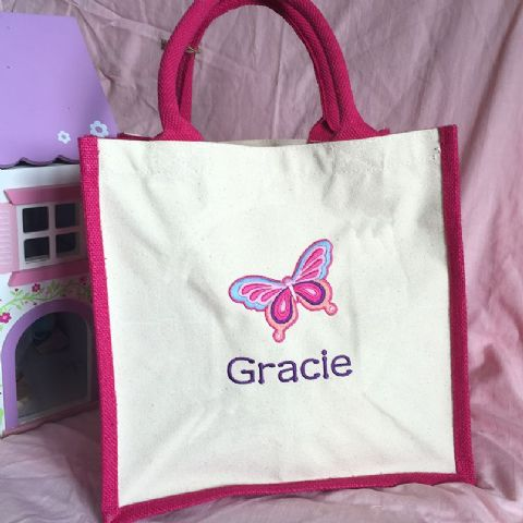 Personalised Butterfly Jute Cotton Bag